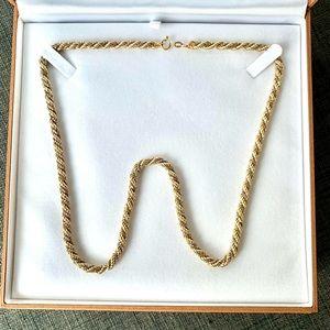 Moda Jewels Accessories - 18k Solid 2 Tone White/Yellow Gold Rope Box Chain